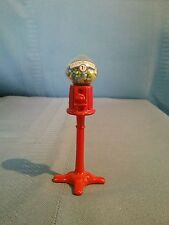 Miniature Dollhouse Penny Gumball Machine Red Metal Stand and Glass Dome