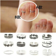 12PC Celebrity Fashion Retro Silver Adjustable Open Toe Ring Finger Foot Jewelry
