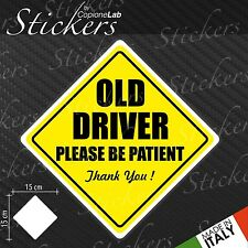 Adesivo Stickers Segnale Sign OLD DRIVER ON BOARD a bordo auto moto
