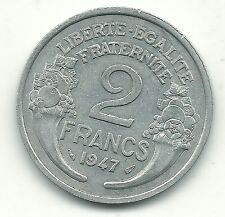 A HIGH GRADE AU 1947 FRANCE 2 FRANCS COIN-OCT402