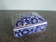 Porcelain Trinket Box - Oriental Blue & White Floral Design (A)