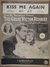 song sheet KISS ME AGAIN, the great victor herbert, Susanna Foster 1915