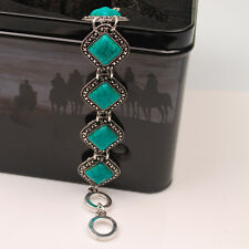 Pretty Chain Tibetan Silver Alloy Bracelet Rhombus Turquoise Bangle Women