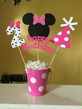 Minnie Mouse Birthday Party Centerpiece And 6 Food Label Cards