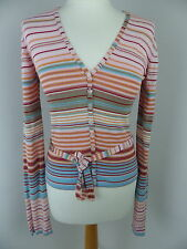 French Connection cardigan size S small stripey cotton blend