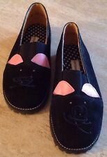 Vintage Goody Children's/Girls Suede Black Pussy Cat Loafer Shoes Size:2