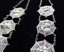 Incredible and Unique Victorian Sterling Silver Spider Halloween Gothic Necklace