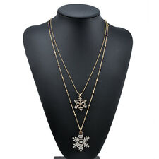 Vintage Xmas Snowflake Long Chain Sweater Pendant Necklace Fashion Jewelry Gift