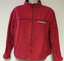 Men's Large Teknic  Racing Jacket Front Zip Canvas Lined Red Embroidered