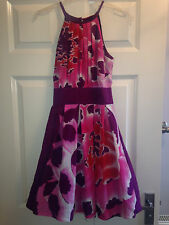 *WAREHOUSE* 100% SILK PURPLE RED PINK WHITE FLOWER SKATER PROM DRESS UK 6