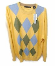 Northern Isles Sweater Silk Cashmere Blend 2XL Yellow Gray Blue Crew Neck XXL