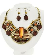 Victorian Style Multi Brown Glass & Lucite Bead Gold Tone Necklace Earring Set