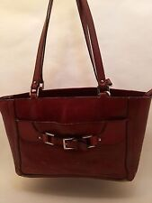 Vintage Etienne Aigner Mahogany Cowhide Leather Purse Tote Bag 74863 Satchel Red