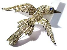 STERLING SILVER SIGNED ART DECO PAVE' RHINESTONE PIN BIRD VINTAGE IN FLIGHT