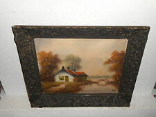 Old oil painting,{ Cottage near a river, is signed, and antique! }.