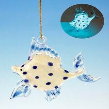 GLASS GLOW IN THE DARK TROPICAL FISH COASTAL NAUTICAL CHRISTMAS TREE ORNAMENT