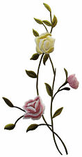 """#3967R 10"""" Embroidery Iron On Rose Flower Applique Patch-Right"""