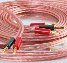 2 x 5m OFC SPEAKER CABLE High Definition 336 Strand Copper Terminated 4mm Plugs
