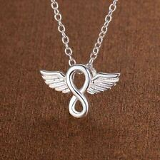925 Sterling Silver Fashion Jewelry Infinity & Angel Wings Pendant & Chain.