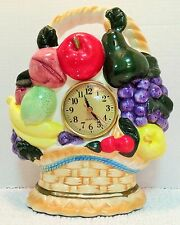 Lg Kitchen Clock Fruit Basket Ceramic Shelf Sitter Battery Op Timepiece Chippy