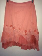 Per Una Skirt Cotton Mix Coral Colour Ruffle Jagged Rag HemIn Size 10  R5005
