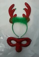 Chrismas Reindeer Headband With Bells And Reindeer Face Mask