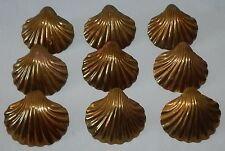 Vintage SCALLOP Brass SEA SHELL Napkin Rings NAUTICAL Beach DECOR Set of 9 CLAM