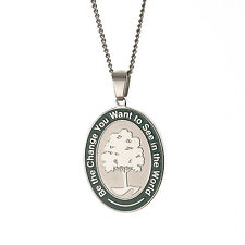 """"""" Be The Change You Wish To See In The World """" Inspirational Pendant Necklace"""
