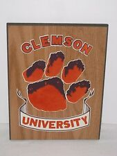 VINTAGE 1980's CLEMSON TIGERS UNIVERSITY WOOD WOODEN SIGN NEW OLD STOCK NOS