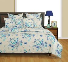 Swayam Blue and White Colour Floral Print Double Bed Sheet with Pillow Covers