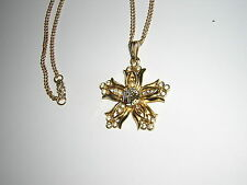 Bellflower NECKLACE PENDANT Rebekah gold? fraternal Women's IOOF vtg rhinestones