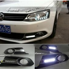 For VW Volkswagen Jetta MK6 11-2013 2x White LED Daytime Day Fog Light Lamp DRL