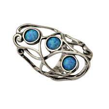 Luxurious Shablool Ring Simulated Opal Blue Sterling Silver Women's