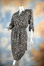 NEW BAR III Barcelona black leopard animal print shirt dress career SZ: XL