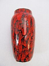 West German Pottery Red & Black Vase Fat Lava Scheurich 242-22 KERAMIK Mid Cent