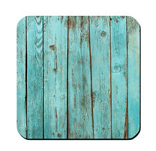 DRINK COASTERS - Teal Turquoise Wood - Set of 4 - glossy wood bar country rustic