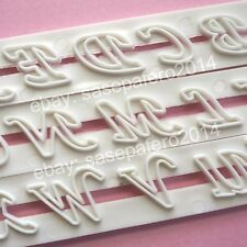 Script alphabet (upper and lower case) and number cutter 6 pieces set. Letras