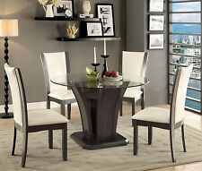 Furniture Of America Manhattan Glass Top Round Dining Table And Chairs 5 Pc Set