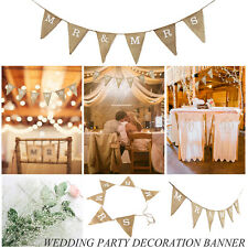 UK MR & MRS Hessian Burlap Bunting Banner For Rustic Wedding Vintage Photo Props