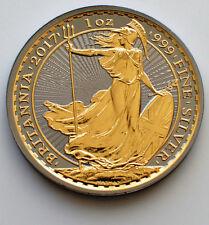 2017 1oz .999 £2 Britannia  Silver Coin Ruthenium & Gold Gilded