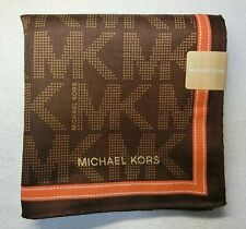 "MICHAEL KORS brown MK logo handkerchief 50x50cm(19.69"")cotton100% Japan made"