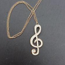 Bolsa De Regalo Gratis Tono Oro Cristal Treble Clef Damas Disfraz Collar De Música Navidad