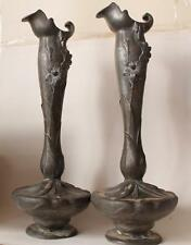 Antique Large Pair Art Nouveau Pewter Figural Vases by Elsie Ward Hering c.1900