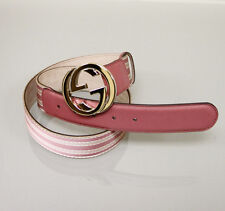 NEW Authentic Gucci Pink Web Canvas/Leather Belt Interlocking G Buckle 85/3