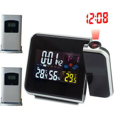 Weather Station Alarm Clock Projector+2 Wireless Outdoor Temperature Transmitter