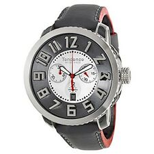 Tendence Swiss Made Watch White Dial Chrono Black Leather Strap Date TE470001