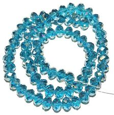 """CR450L2 Dark Teal Blue AB 8x6mm Rondelle Faceted Cut Crystal Glass Beads 16"""""""