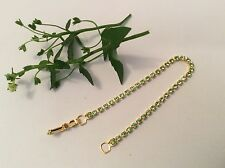 "Tennis Bracelet Austrian Rhinestones Peridot 6"" Small size Child Post Free"