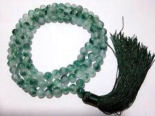 10mm Tibet Buddhism 108 White&green Jade Prayer Bead Mala Necklace