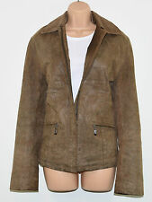 Vintage Brown Leather PER VOI Milano Hips Length Biker Zip Coat Jacket Size XL